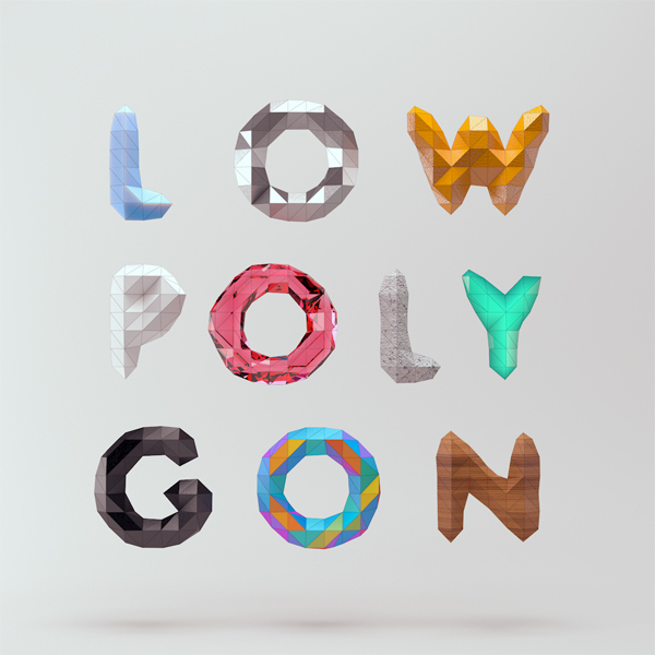 Low Poly Font / Mount&Star